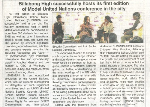 Billabong High successfully hosts its first edition of model United Nations conference in the city