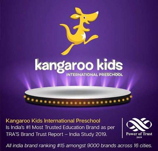 Kangaroo kids international preschool ranked #15th among 1000 brands by TRA brand trust report 2019